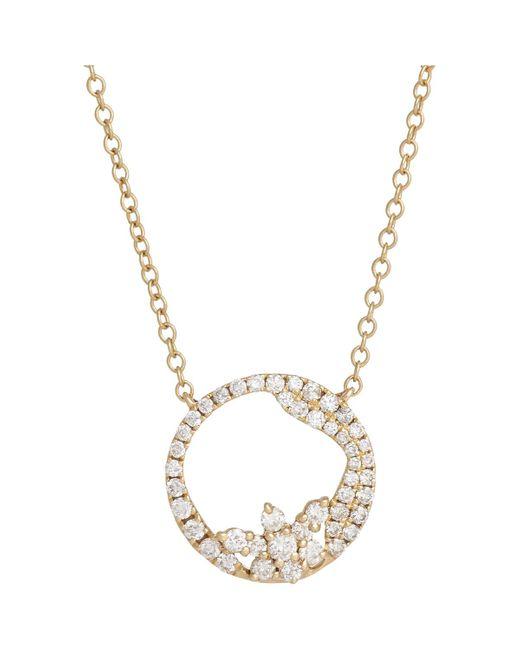 Zoe | Metallic White Diamond & Yellow Gold Open Circle Pendant Necklace | Lyst