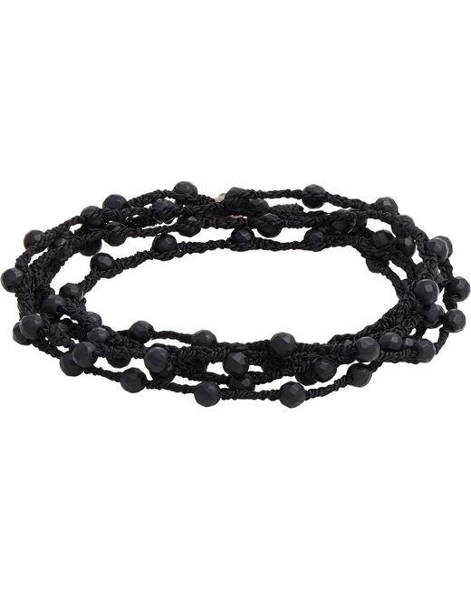 Feathered Soul   Black Agate Bead & Braided Silk Wrap Bracelet for Men   Lyst