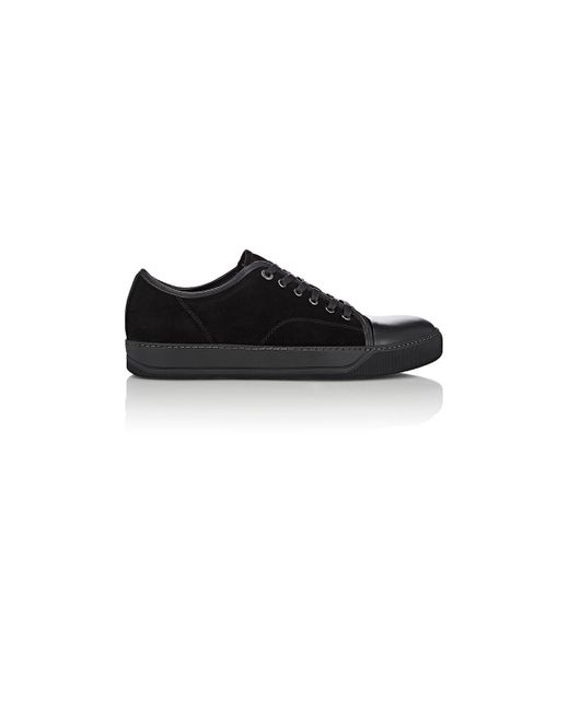 Lanvin | Black Suede & Leather Cap-toe Sneakers | Lyst