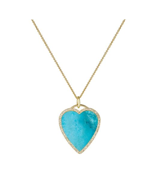 Jennifer Meyer | Blue White Diamond & Turquoise Heart Pendant Necklace | Lyst