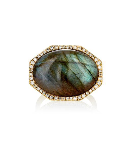 Monique Péan | Green White Diamond & Labradorite Cabochon Ring | Lyst