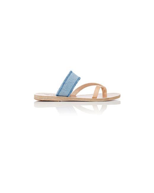 Ancient Greek Sandals | Blue Daphnae Leather & Denim Slide Sandals | Lyst