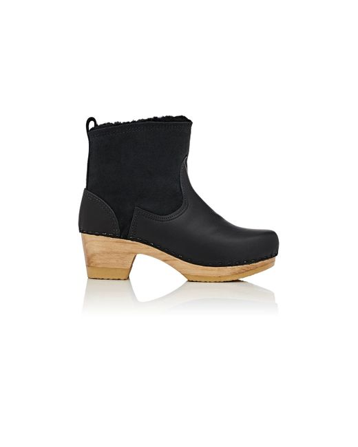 No. 6 Shearling U0026 Leather Clog Boots In Black | Lyst