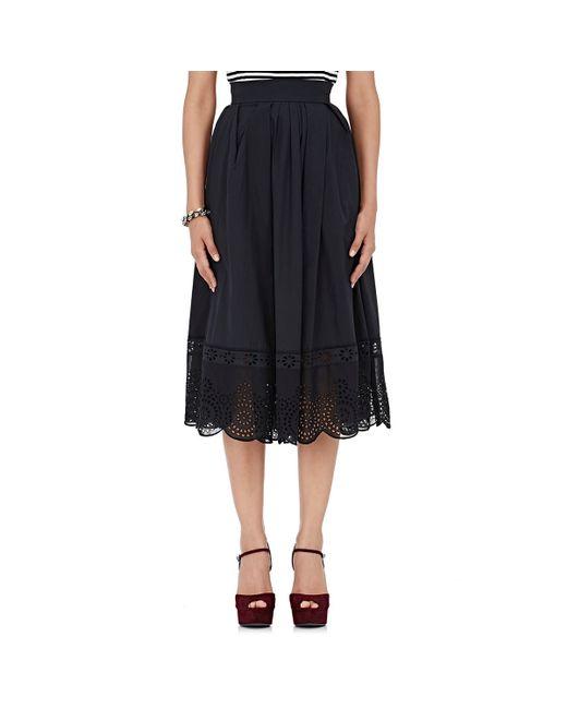 marc vinyl eyelet midi skirt in black lyst