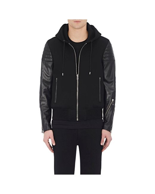 Givenchy | Black Neoprene & Quilted Leather Hooded Jacket for Men | Lyst