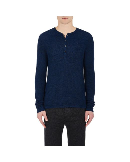 Rag & Bone   Blue Giles Wool Henley Sweater for Men   Lyst