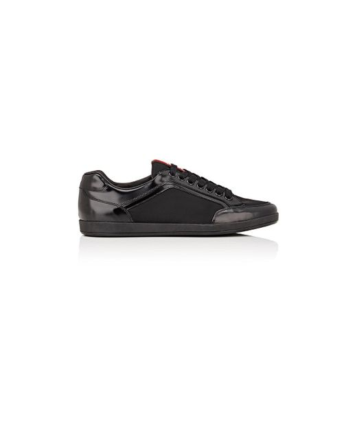 Prada | Black Leather Sneakers for Men | Lyst