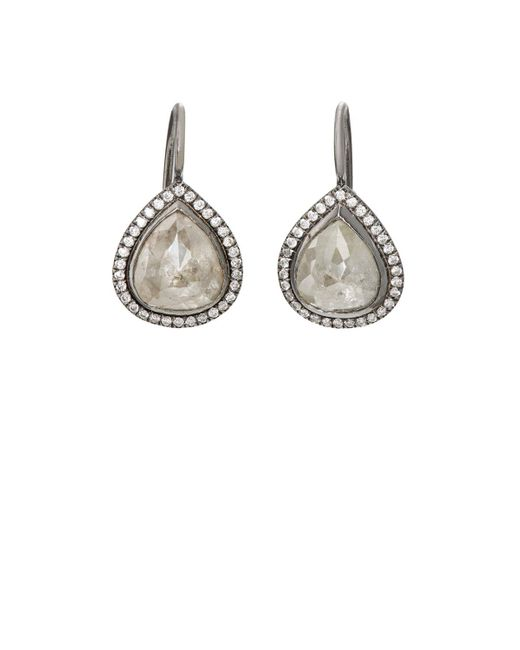 Zoe | Metallic Opaque Grey Diamond Earrings | Lyst