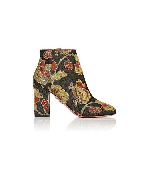 Aquazzura | Black Brooklyn Rose Jacquard Boot | Lyst