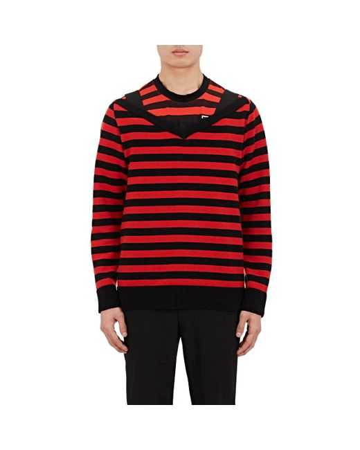 Givenchy | Red Striped Wool Wide V for Men | Lyst