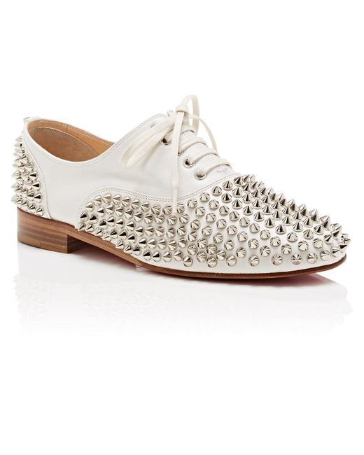 200f4966ae35 ... Christian Louboutin - White Freddy Spike Embellished Leather Oxford  Shoes - Lyst ...
