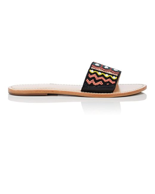 Barneys New York - Multicolor Beaded Leather Slide Sandals - Lyst