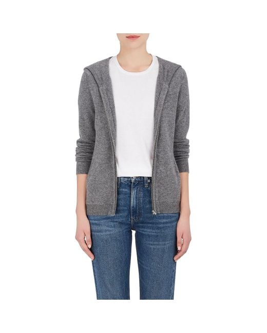 Barneys New York - Gray Cashmere Zip-front Hoodie - Lyst