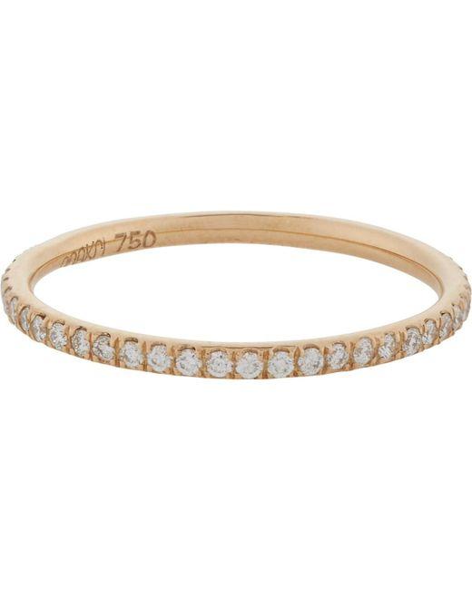 Ileana Makri - White Pavé Diamond & Pink Gold Thread Band Size 7 - Lyst