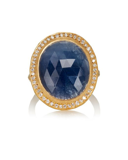 Malcolm Betts | Oval Blue Sapphire & Yellow Gold Ring | Lyst