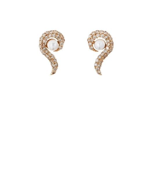 Ileana Makri - Metallic Y-d-pearl Flair Stud Earrings - Lyst