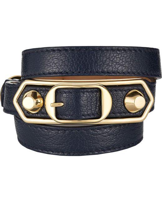 Balenciaga   Blue Metallic Edge Wrap Bracelet   Lyst