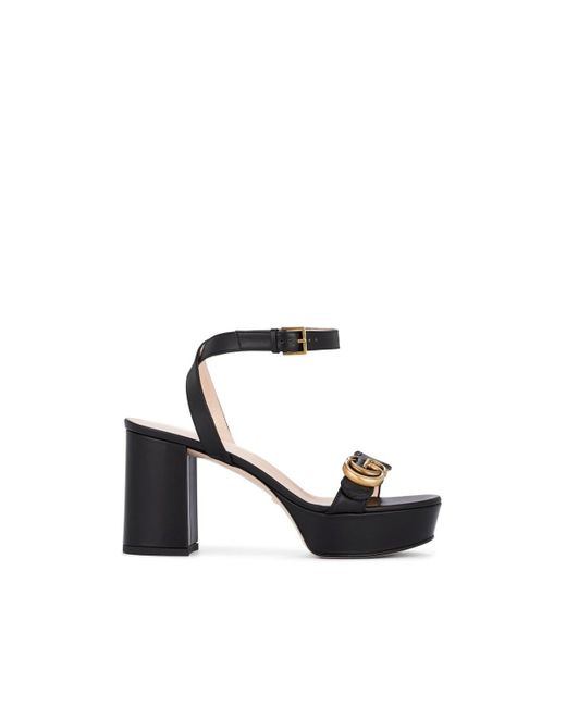 6ea48e293 Gucci - Black Marmont Leather Ankle-strap Sandals - Lyst ...