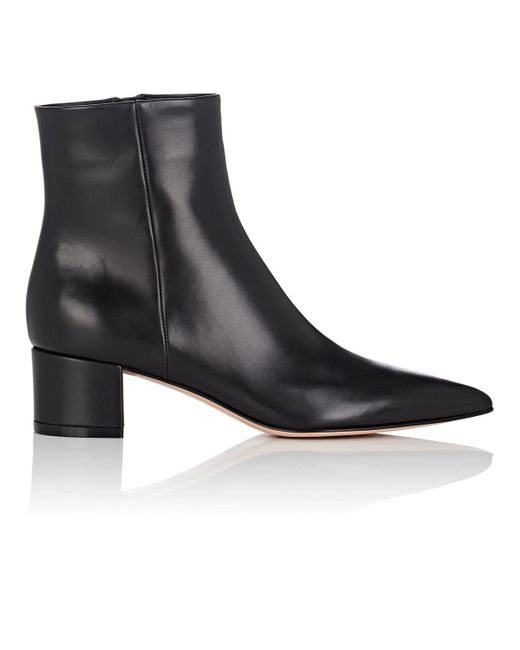 c028a03843c3 Gianvito Rossi - Black Block-heel Leather Ankle Boots - Lyst ...