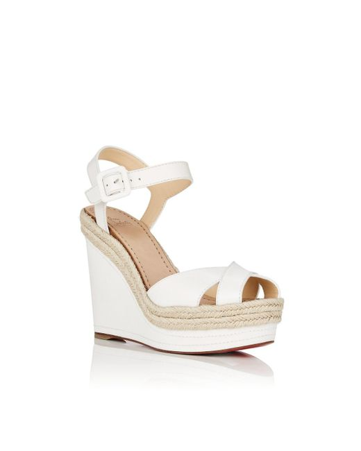 59a084867eb ... Christian Louboutin - White Almeria Leather Platform-wedge Sandals -  Lyst ...