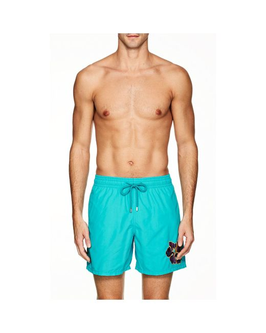 Vilebrequin - Blue Motu Embroidered Swim Trunks for Men - Lyst