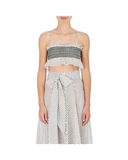 Lisa Marie Fernandez | White Smocked Cotton Crop Top | Lyst