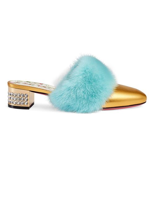 Gucci - Metallic Candy Fur-trimmed Leather Mules - Lyst