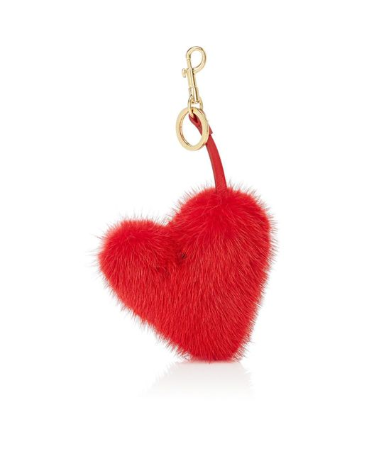 Anya Hindmarch - Red Heart-shaped Mink Fur Bag Charm - Lyst