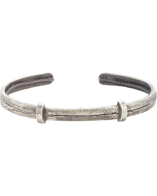 Zadeh - Metallic Textured Silver Cuff for Men - Lyst