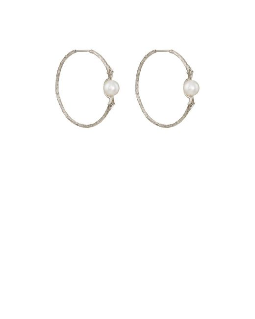 Cathy Waterman - White Pearl & Diamond Hoop Earrings - Lyst