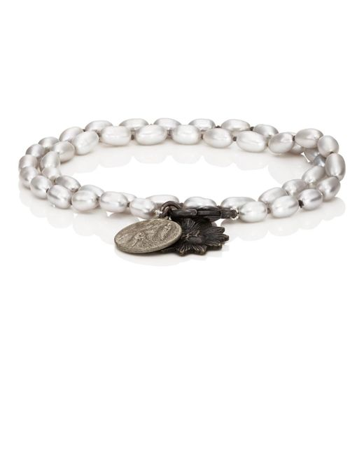 Miracle Icons Gray Vintage-icon Pearl Wrap Bracelet for men
