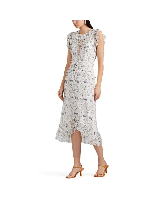 20b04b15280a04 Sir. The Label Posey Floral Silk Midi-dress in White - Lyst