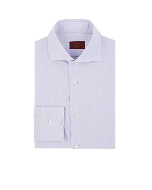 Isaia - Purple Hairline-striped Cotton Poplin Shirt for Men - Lyst