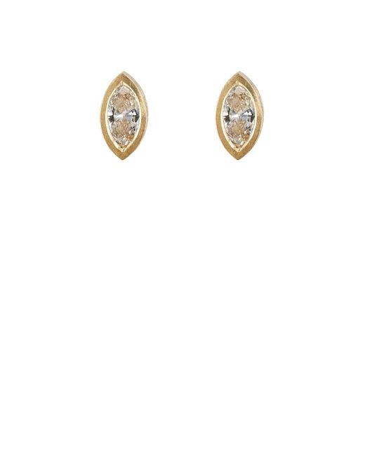Malcolm Betts - Metallic Marquise-shaped White Diamond Stud Earrings - Lyst