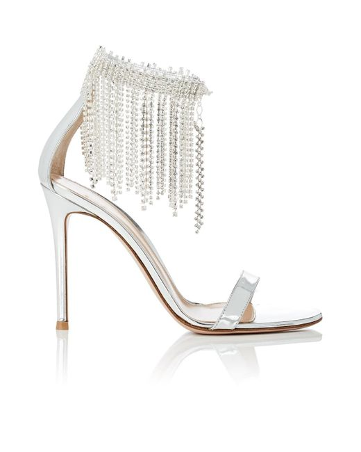 Gianvito Rossi - Metallic Crystal-fringed Specchio Leather Sandals - Lyst