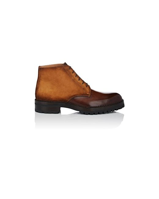 Fratelli Giacometti - Brown Burnished Leather & Suede Chukka Boots for Men - Lyst