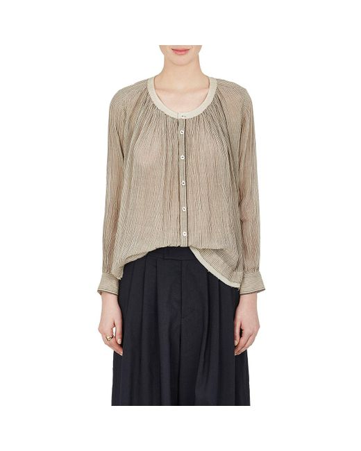 Pas De Calais - Natural Striped Sheer Cotton Voile Shirt - Lyst