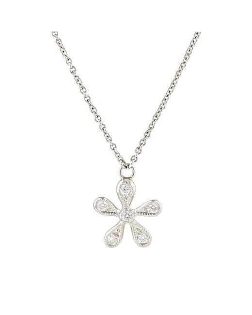 Cathy Waterman | Metallic White Diamond & Platinum Daisy Pendant Necklace | Lyst