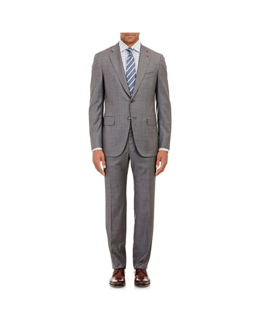 Isaia Gray Gregory Wool Sharkskin Two-button Suit for men
