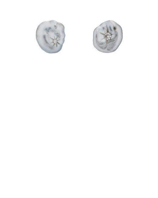 Samira 13 - White-diamond-centered Keshi Pearl Stud Earrings - Lyst