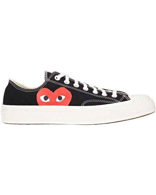 Comme des Garçons   White Large Emblem Low Top Canvas Sneakers   Lyst