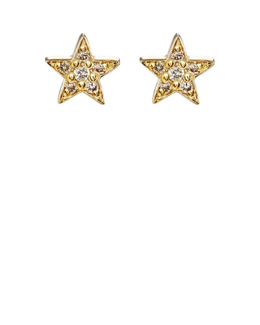 Jennifer Meyer | White Mini Star Stud Earrings | Lyst