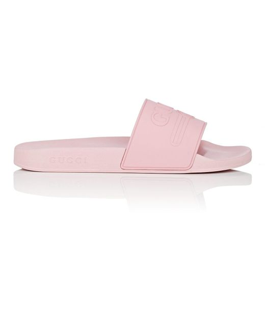 ee9760a034c47 Lyst - Gucci Logo Rubber Slide Sandals in Pink for Men - Save 14%