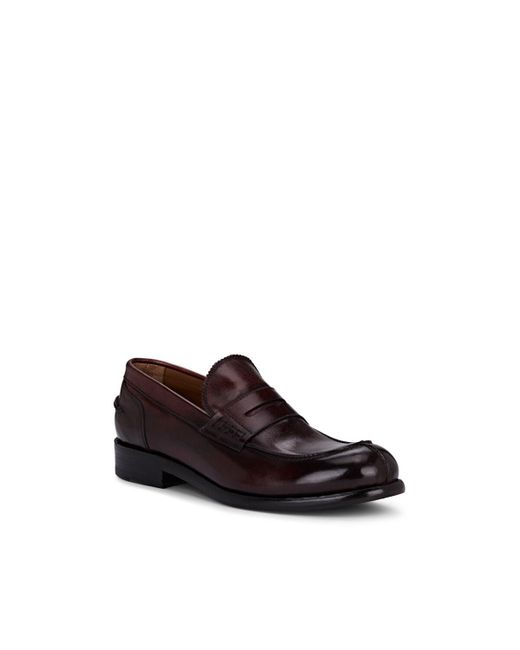 44433fc126877 ... Barneys New York - Brown Washed Leather Penny Loafers for Men - Lyst ...