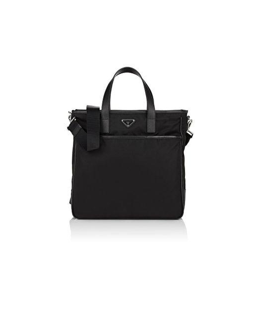 Prada - Black Leather-trimmed Tote Bag for Men - Lyst