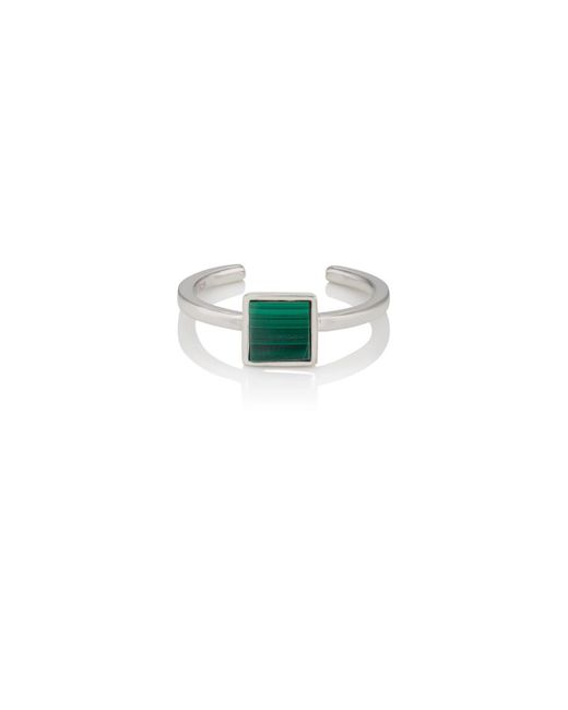 VIOLA.Y JEWELRY - Green Malachite & White Gold Vermeil Ring - Lyst