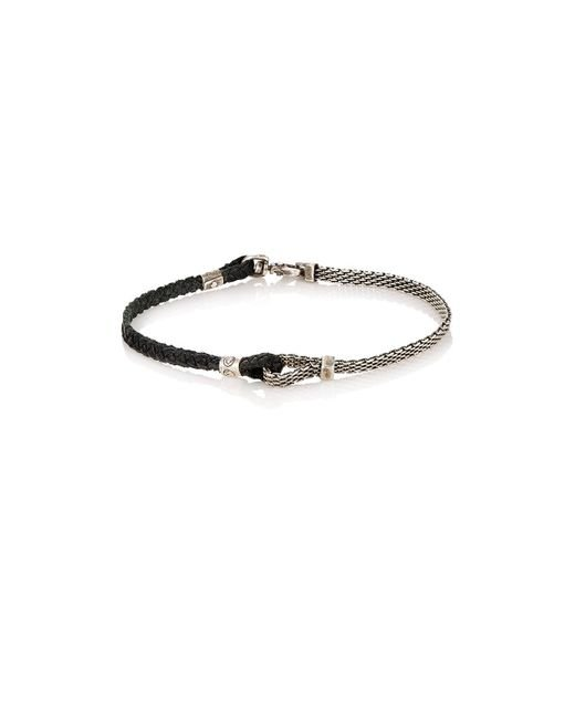Title Of Work - Metallic Adjustable Silver & Leather Bracelet for Men - Lyst