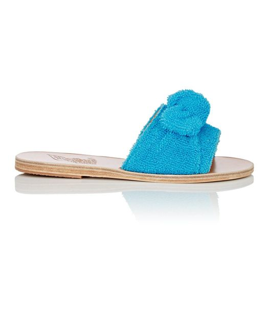 Ancient Greek Sandals - Blue Taygete Bow Terry Slide Sandals - Lyst