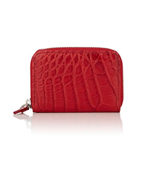 Barneys New York - Red Small Alligator Zip-around Card Case for Men - Lyst