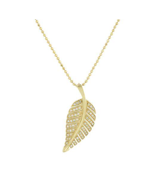 Jennifer Meyer - Metallic Pavé Leaf Pendant Necklace - Lyst